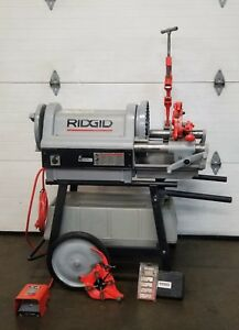Ridgid 1224 Pipe Threader Threading Machine 2 Dies 1 2 To 4 Works Great 2