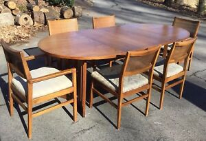 Mid Century Oval Dining Table And Six Cain Back Chairs 2 Leaves And Pads
