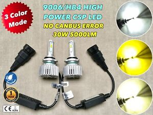 3 Color Strobe Flash Headlight Low Beam 9006 Hb4 42wx2 5000lm Csp Led Bulb W1 Je