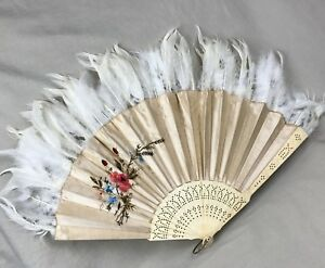 Silk Embroidery Vintage Hand Fan With Feathers Floral Design Japanese