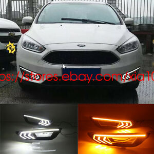 2x Led W y Daytime Running Lights turn Signal Fog Lamp For Ford Focus 2013 2016