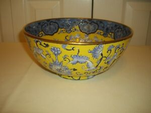 Beautiful Yellow With Blue And Gold Trim Oriental Porcelain Centerpiece Bowl