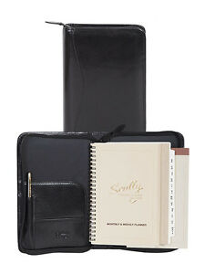 Scully Leather 5045z Black Italian Leather Zippered Planner