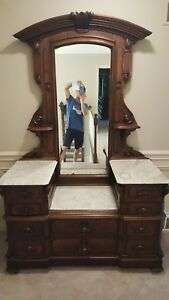 Antique Victorian Eastlake Marble Top Dresser W Mirror 7 Drawers 84 X53 X23 5