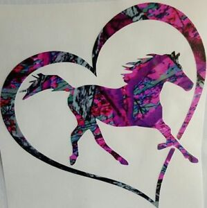 Heart Horse Vinyl Decal 5 Browning Muddy Country Truck Girl Barrel Race Cowgirl