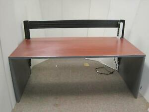 Teknion 5 Ft Home Office Cherry Wood Trading Computer Bench Desk