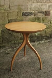 Vtg Mid Century Modern Round Tripod Modernist End Side Table Wormley