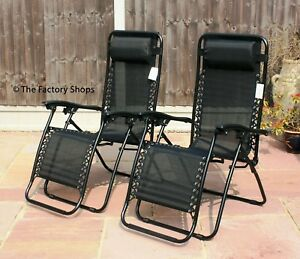 Set Of 2 Outdoor Reclining Sun Loungers Garden Chairs Zero Gravity Folding Chair