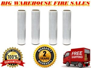 18 X 1500ft 4 Rolls X80 Gauge Durable Pallet Wrap Stretch Film Shrink Hand Wrap