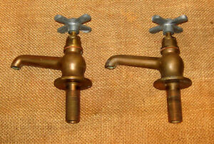 Vintage Pair Of Solid Cast Bronze Utility Faucets