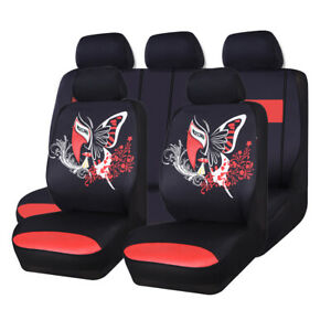 Carpass Luxrious Red Color Butterfly Universal Aritifical Fits Car Seat Covers