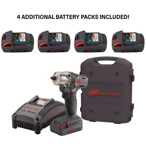 New Ingersoll Rand W5130 3 8 Cordless Impact Wrench W 4 Extra Battery Packs