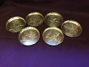 Lot Of 6 Antique Japanese Sterling Silver Etched Engraved Coasters 174 3 Grams