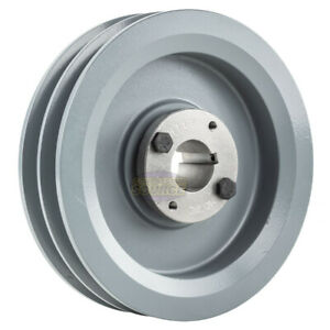 Cast Iron 6 75 2 Groove Dual Belt B Section 5l Pulley W 1 1 8 Sheave Bushing