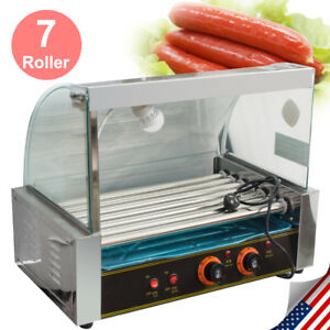 Commercial 18 Hot Dog Hotdog 7 Roller Grill Cooker W Cover Stainless Steel Tray