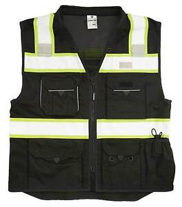Ml Kishigo B500 Safety Vest Black With Lime Yellow And Silver Reflective 2xl