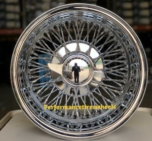Set Of 4 New 14x7 72 Spoke Cross Laced Chrome Reverse Wire Wheels Lowrider