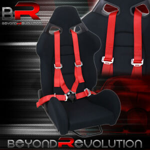 Universal Black Cloth Racing Cuga Style Bucket Seat 4pt Camlock Red Seatbelt