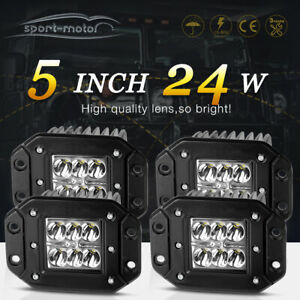 4x 24w 5inch Spot Led Pods Light Jeep Truck Offroad Flush Mount Reverse Driving