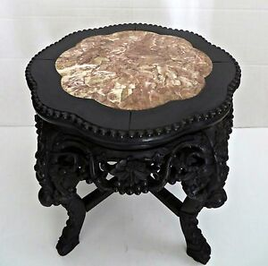 Antique 1870 S Oriental Chinese Carved Wood Marble Top Side Table Plant Stand