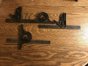 Starrett Combination Square W Protractor Lot Antique Vintage Machinist Tools