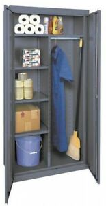 Metal Storage Cabinet Combination Storage Steel With Locking Doors 72 Tall Gray