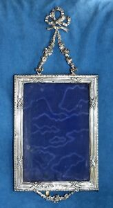 Antique 1908 Birmingham Sterling Silver Bow Knot Roses Hanging Picture Frame