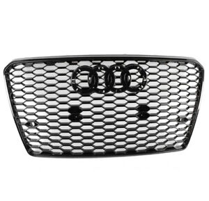 Front Rs7 Style Mesh Bumper Hood Hex Grille Black For 2012 2015 Audi A7 s7 C7