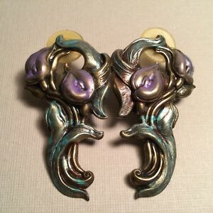 Lovely Pair Of Art Nouveau Style Post Floral Design Earrings Embossed Metal