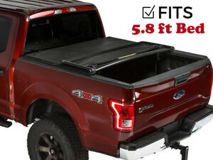 Premium Quadri tri fold Tonneau Cover For 09 17 Dodge Ram 1500 5 8ft Bed Led