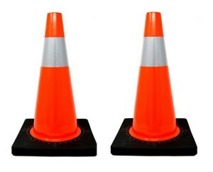 2 Pcs 18 Pvc Traffic Safety Cones With 4 Reflective Collar Road Parking Hazard