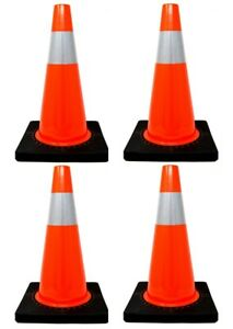 4 Pcs 18 Pvc Traffic Safety Cones With 4 Reflective Collar Road Parking Hazard