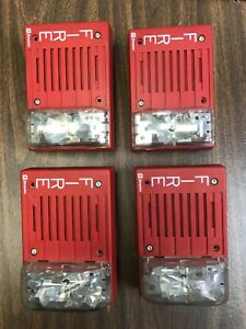 Lot Of 4 Simplex Alarm Horn strobe 4903 9219 24 Vdc Red Used