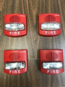 Lot Of 4 Simplex Fire Alarm Horn strobe 4903 9419 Red Used