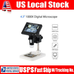 4 3 Professional 1080p 1000x Zoom Digital Microscope Magnifier Camera W stand