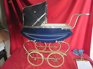 Vintage Doll Baby Buggy Carriage Stroller Canopy Metal Solid Wheels