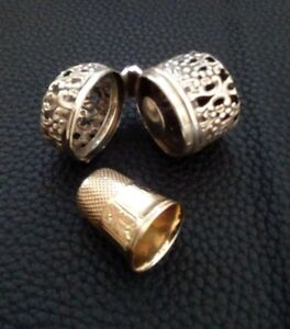 Antique Sterling Silver Thimble Holder With Gold Thimble