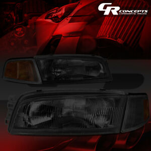 Left Right Smoked Housing Amber Side Headlight Lamps For 97 01 Mitsubishi Mirage