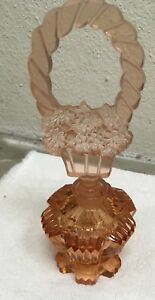 Signed Made In Czechoslovakia Pink Crystal Perfume Bottle Flowers Dauber
