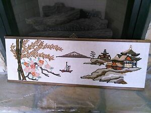 Antique Japanese Panel Screen Wood Textured Backing Unusual Japanese Wall Art