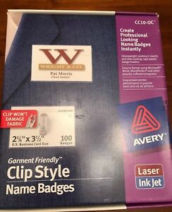 Avery Clip On Name Badge Holder Cc10 0c With Free Box Of Labels