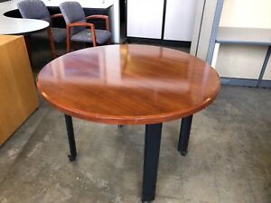 42 Mobile Round Table By Haworth Office Furniture In Cherry Finish Wood Veneer
