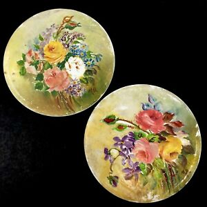 Vtg Wheeling Art Tile Handpainted Floral Bouquet 6 Round Tile Set Of 2 Signed