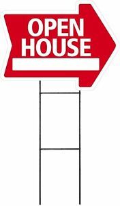 Large 18 x24 Open House Red Arrow Shaped Sign Kit With Stand