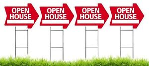 Large 18 x24 Open House Red Arrow Shaped Sign Kit With Stands 4 Pack
