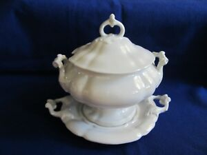 Beautiful Original Antique Red Cliff Ironstone Soup Tureen W Tray Mint