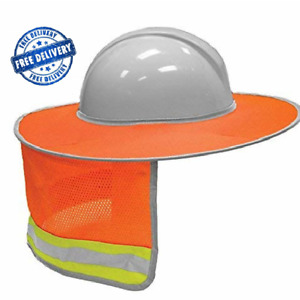 Reflective Vis Full Brim Safety Hard Hat Sun Shade Head Neck Protection New