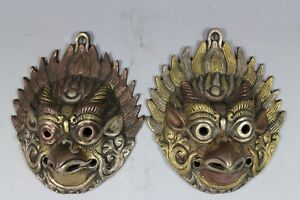 China Bronze Copper Eagle Head Palace Guardian Door Knocker Pair