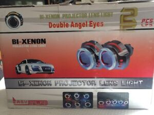 Hot Item Car Bi Xenon Hid Projector Lens Kit With Double Angel Eyes And Bulbs