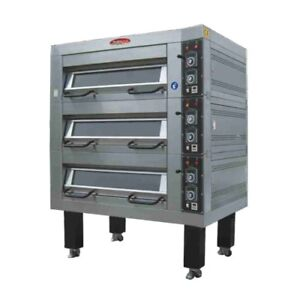New Bakemax Bmddoo1 56 Electric Single Deck Pizza Bread Bake Two Pans Wide